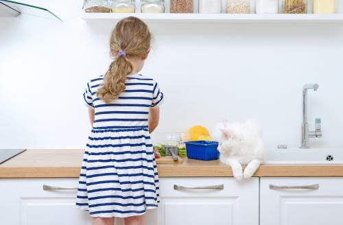 Menina e gato na cozinha