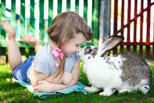 niña con conejo