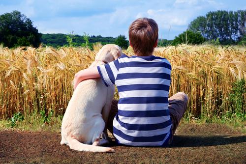 Menino abraçado a cachorro