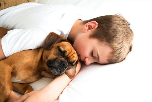 niño le dice a su perro quiero tenerte