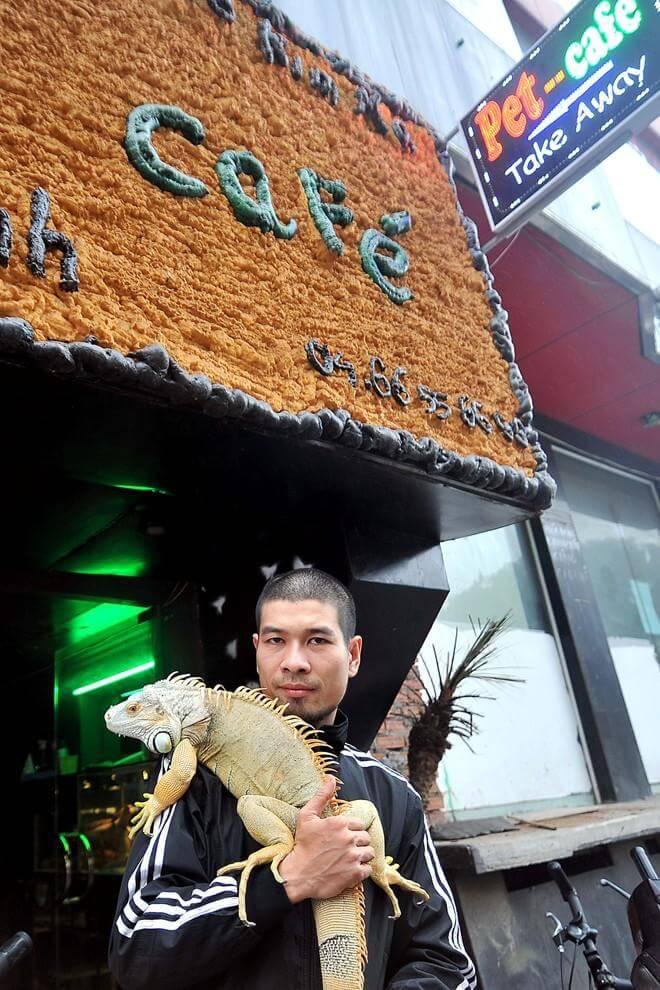 Un café en Hanói en compañía de mascotas