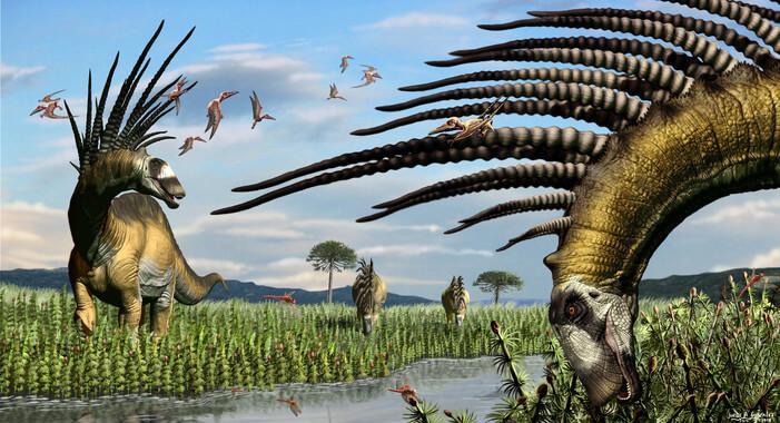 Descubren restos de dinosaurios con espinas gigantes