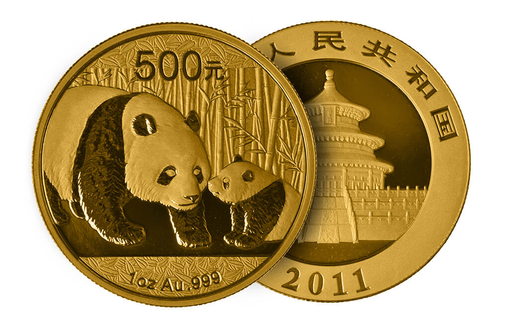 Monedas chinas con imágenes del oso panda.