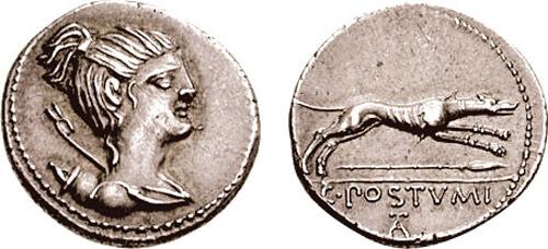 Moneda romana de busto de mujer con reverso de perro e inscripción.