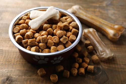 Comida seca para perros con huesos