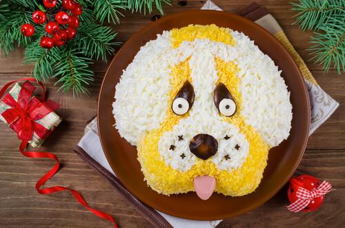 Tarta con cara de perro