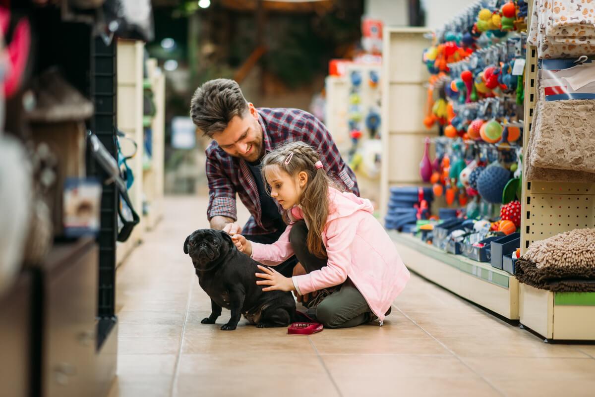 Una niña eligiendo un cachorro en una tienda.