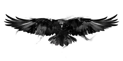 Un cuervo en óleo