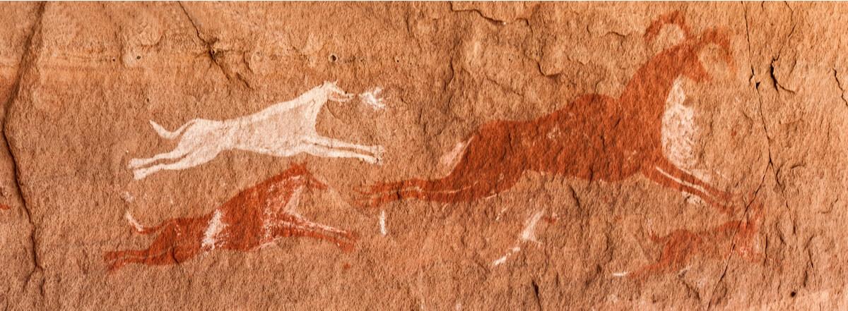Perros y dibujos prehistóricos.