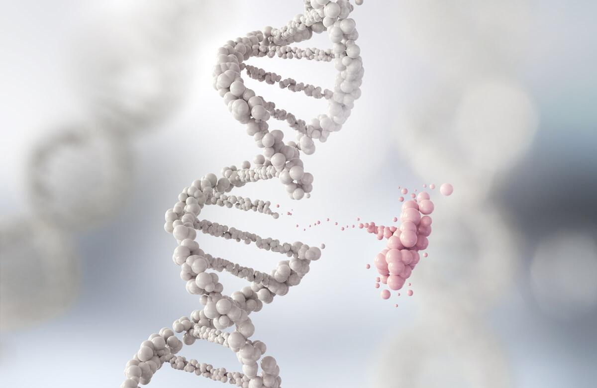 Una hebra de ADN rompiéndose.