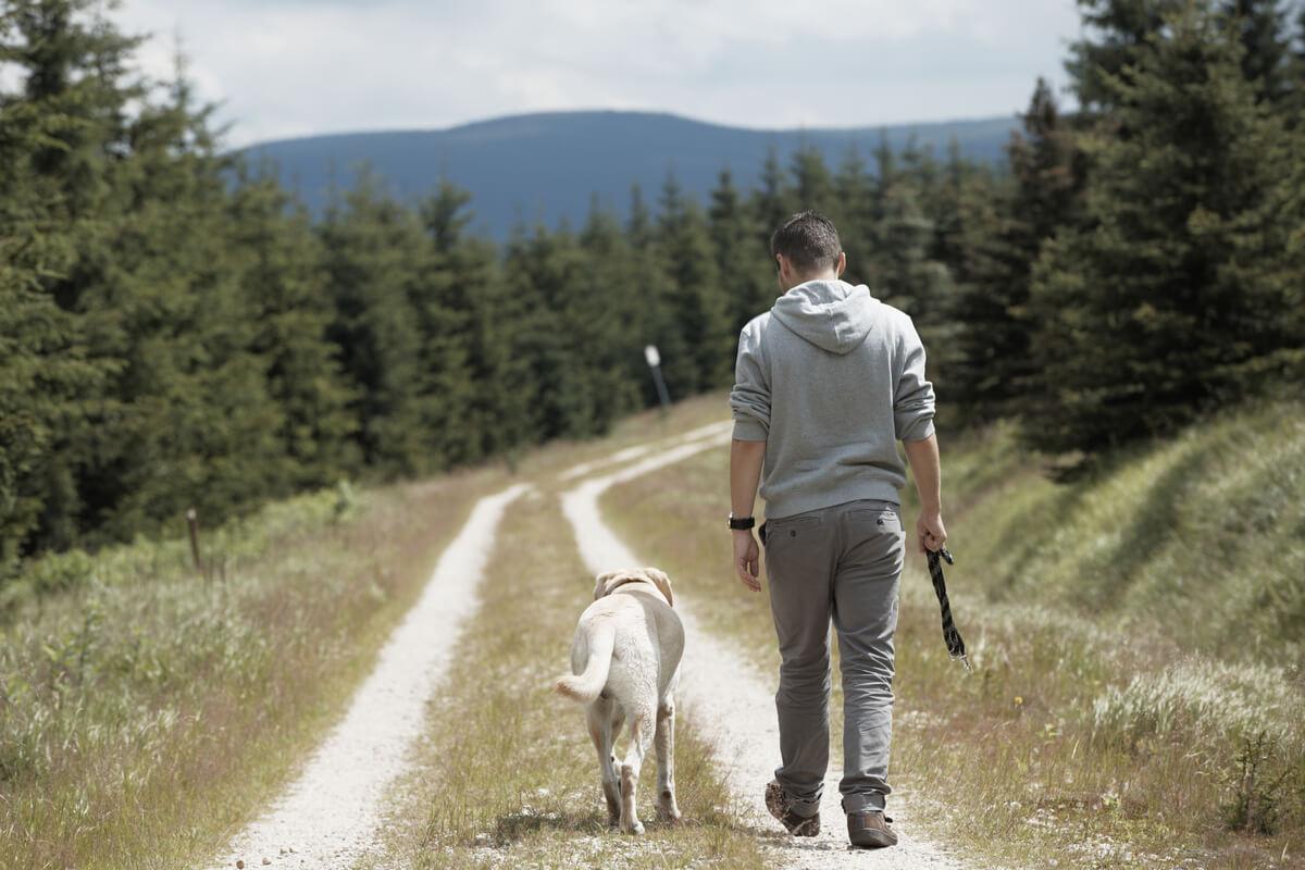 Un perro y su dueño.