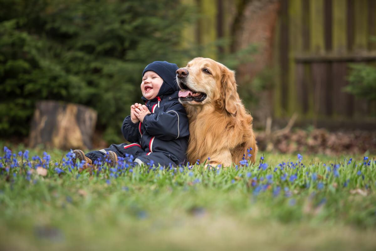 Un perro y un bebé sonríen.