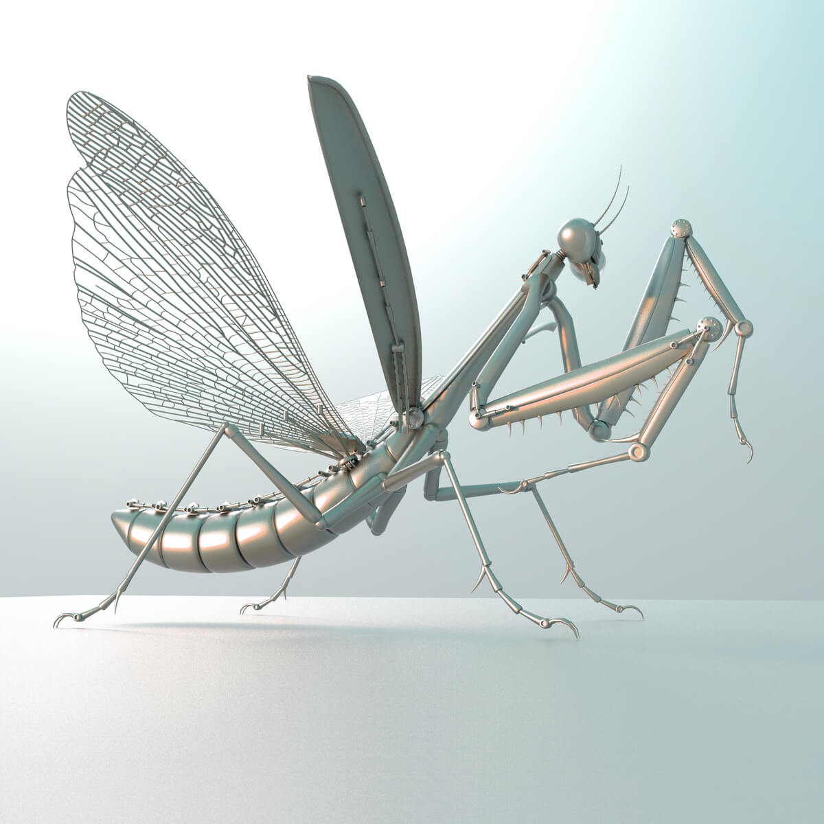 Una mantis robot.