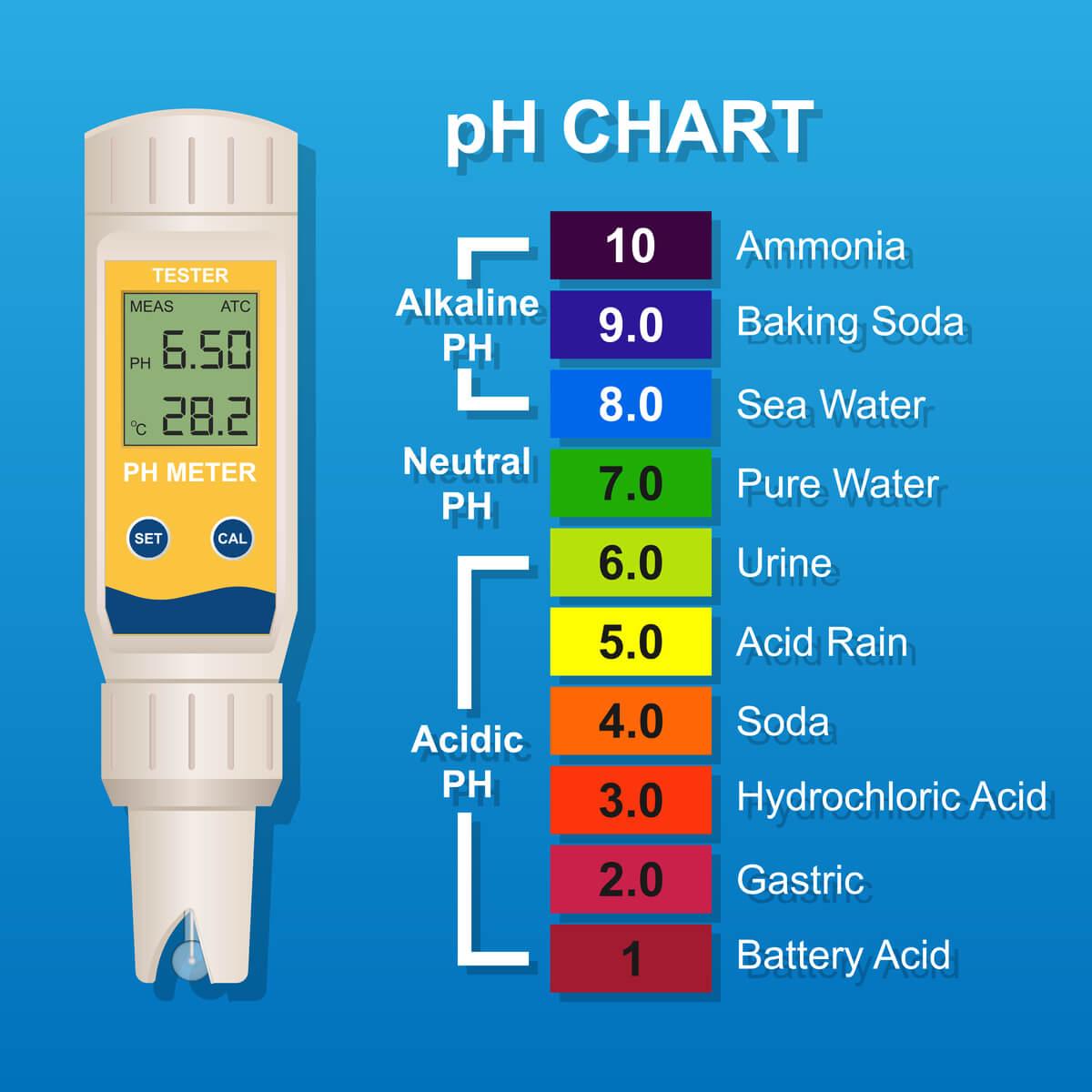 Una representación de la escala del pH.