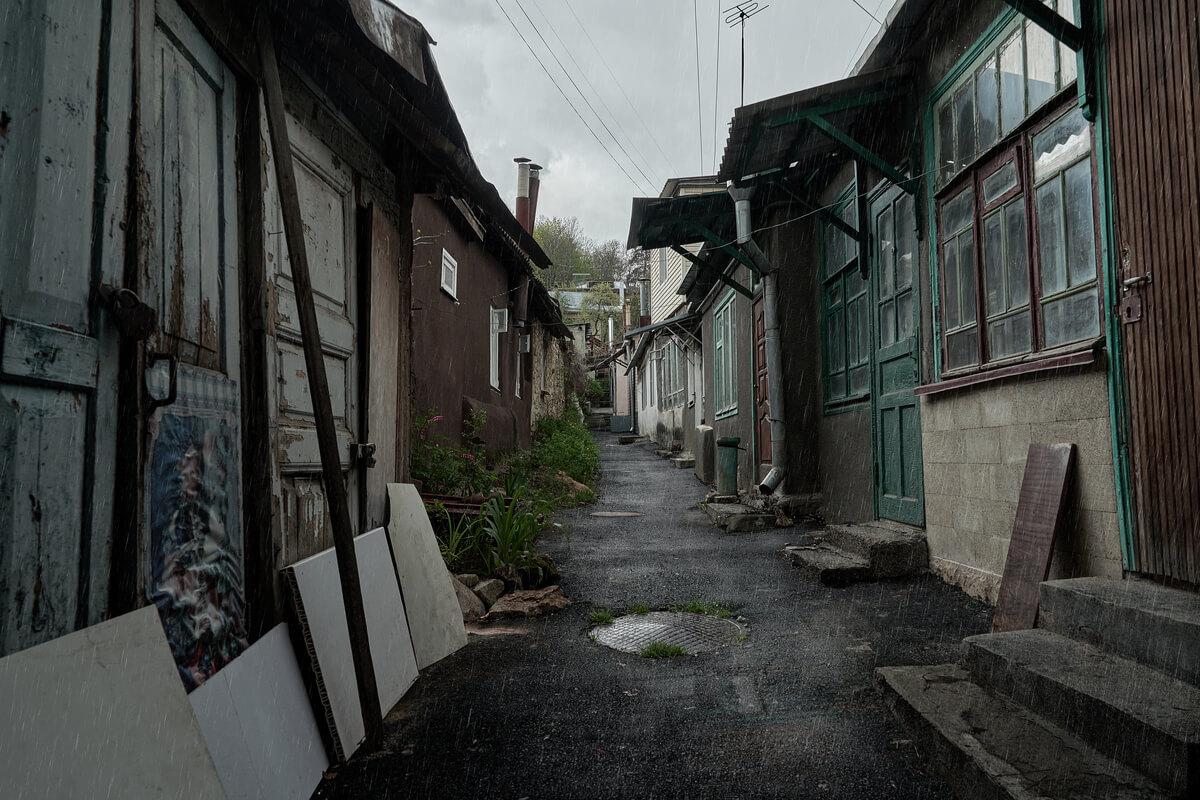Un barrio ruso pobre.