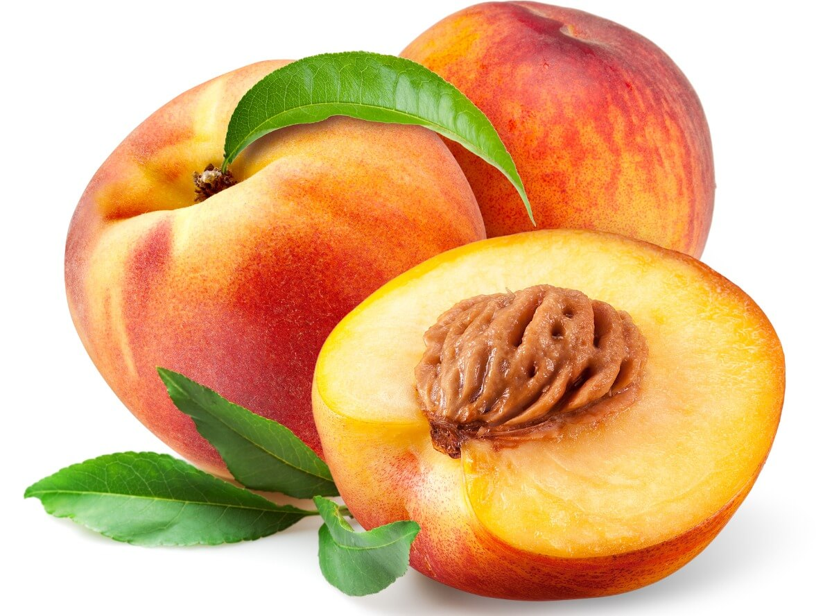A peach on a white background.