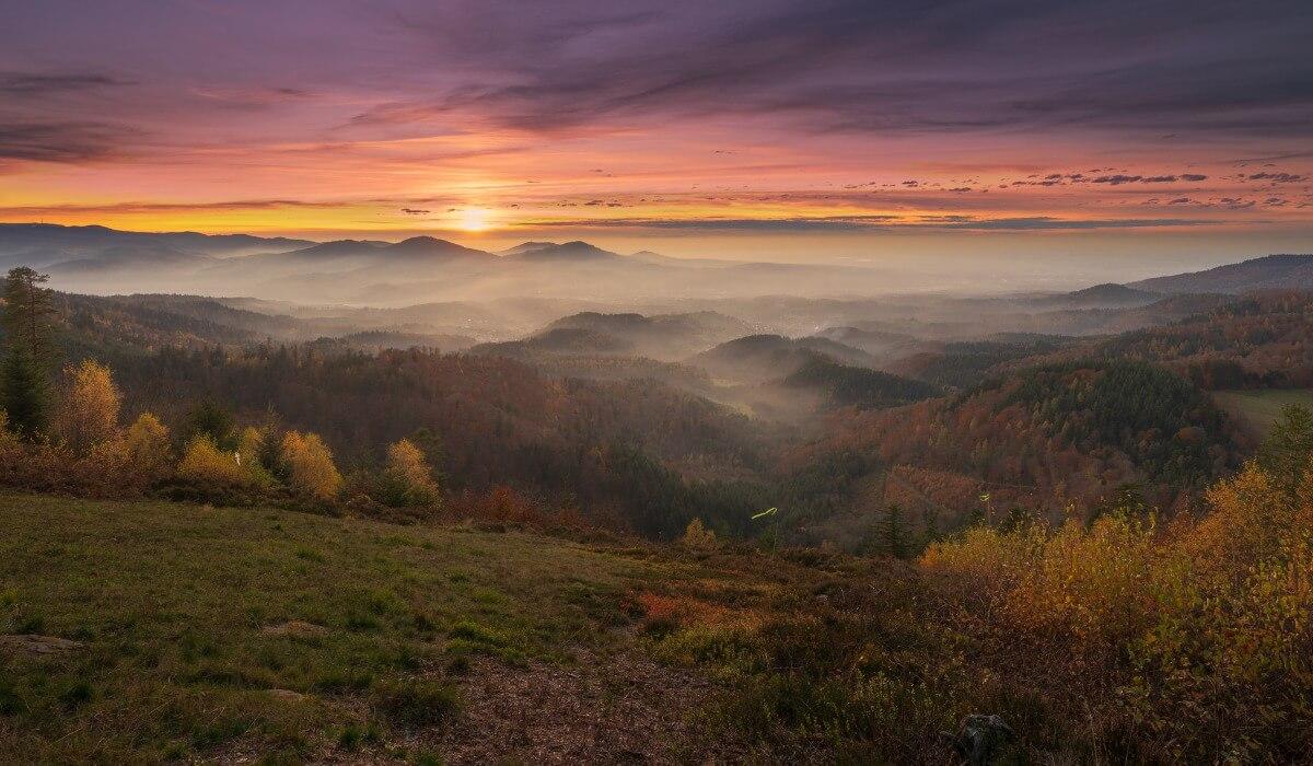 Una puesta del Sol en la Selva negra.