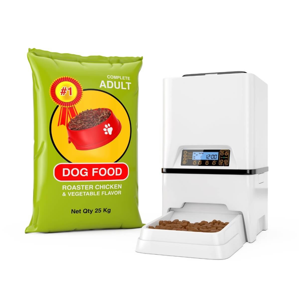 Un distributore di cibo per cani.