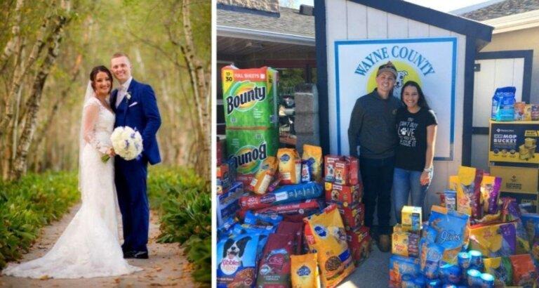 Cambiaron regalos de boda por alimento para refugio de animales